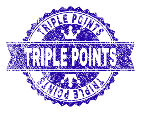 TRIPLE POINTS rosette seal imprint with grunge texture. Designed with round rosette, ribbon and small crowns. Blue vector rubber print of TRIPLE POINTS label with corroded texture.
