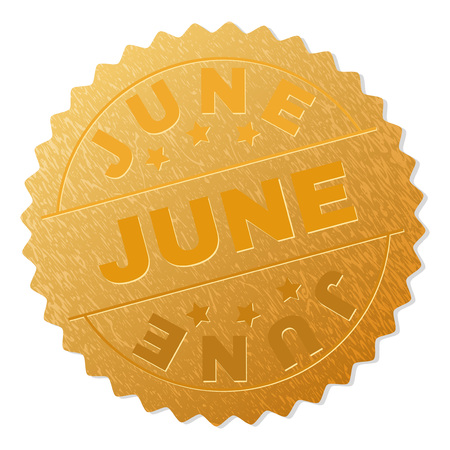 JUNE gold stamp award. Vector golden award with JUNE text. Text labels are placed between parallel lines and on circle. Golden area has metallic effect. Illustration