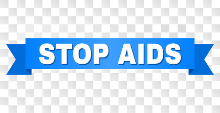 STOP AIDS text on a ribbon. Designed with white caption and blue stripe. Vector banner with STOP AIDS tag on a transparent background. Stock Illustratie