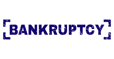 BANKRUPTCY title seal print with grunge texture. Text title is placed inside corners. Blue vector rubber print of BANKRUPTCY with corroded texture. Ilustração