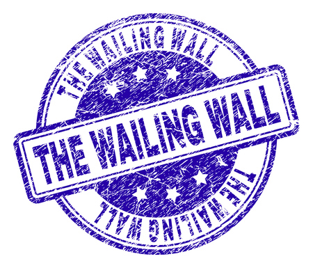 THE WAILING WALL stamp seal imprint with grunge texture. Designed with rounded rectangles and circles. Blue vector rubber print of THE WAILING WALL tag with grunge texture. Illustration