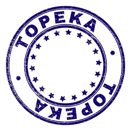 TOPEKA Stempelsiegel-Wasserzeichen mit Distress-Textur. Entworfen mit runden Formen und Sternen. Blauer Vektorgummidruck des TOPEKA-Etiketts mit Grunge-Textur. Vektorgrafik