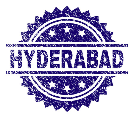HYDERABAD stamp seal watermark with distress style. Blue vector rubber print of HYDERABAD tag with retro texture. Vetores