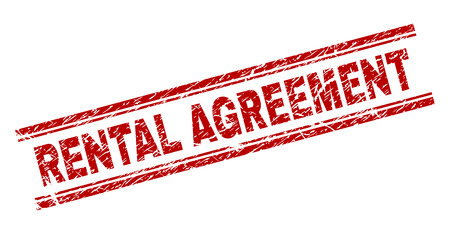 RENTAL AGREEMENT seal print with distress style. Red vector rubber print of RENTAL AGREEMENT title with corroded texture. Text title is placed between double parallel lines.