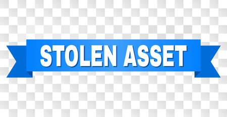 STOLEN ASSET text on a ribbon. Designed with white caption and blue stripe. Vector banner with STOLEN ASSET tag on a transparent background. Vektorové ilustrace