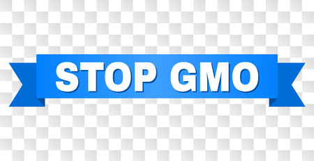 STOP GMO text on a ribbon. Designed with white title and blue stripe. Vector banner with STOP GMO tag on a transparent background. Ilustrace