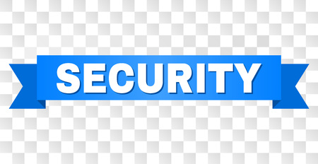 SECURITY text on a ribbon. Designed with white title and blue stripe. Vector banner with SECURITY tag on a transparent background.