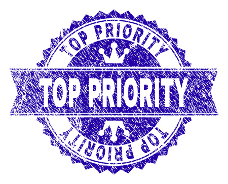 TOP PRIORITY rosette stamp watermark with distress texture. Designed with round rosette, ribbon and small crowns. Blue vector rubber watermark of TOP PRIORITY caption with corroded texture.