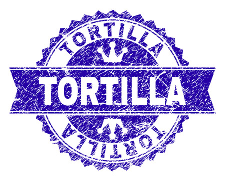 TORTILLA rosette stamp seal watermark with grunge texture. Designed with round rosette, ribbon and small crowns. Blue vector rubber watermark of TORTILLA tag with grunge texture.