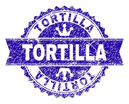 TORTILLA-Rosette-Stempel-Siegel-Wasserzeichen mit Grunge-Textur. Entworfen mit runder Rosette, Band und kleinen Kronen. Blaues Vektor-Gummi-Wasserzeichen von TORTILLA-Tag mit Grunge-Textur.