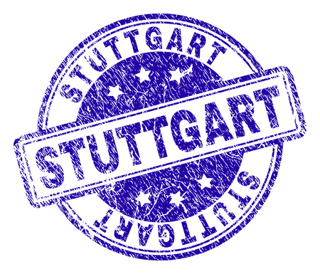 STUTTGART stamp seal watermark with grunge texture. Designed with rounded rectangles and circles. Blue vector rubber print of STUTTGART text with grunge texture.