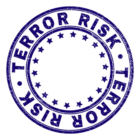 TERROR RISK stamp seal imprint with distress texture. Designed with circles and stars. Blue vector rubber print of TERROR RISK caption with grunge texture. Vettoriali
