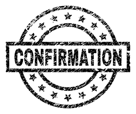 CONFIRMATION stamp seal watermark with distress style. Designed with rectangle, circles and stars. Black vector rubber print of CONFIRMATION title with dirty texture. Illustration