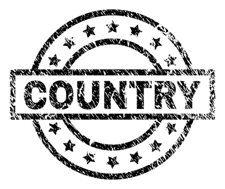 COUNTRY stamp seal watermark with distress style. Designed with rectangle, circles and stars. Black vector rubber print of COUNTRY text with dirty texture.