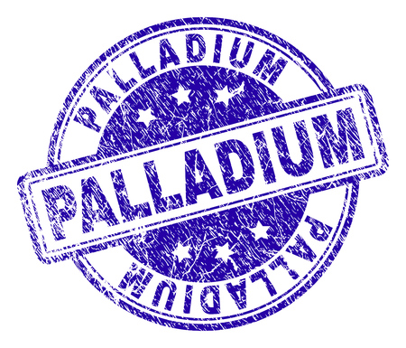 PALLADIUM stamp seal imprint with distress texture. Designed with rounded rectangles and circles. Blue vector rubber print of PALLADIUM caption with dirty texture. Illustration