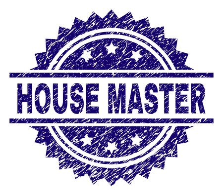 HOUSE MASTER stamp seal watermark with distress style. Blue vector rubber print of HOUSE MASTER title with grunge texture.