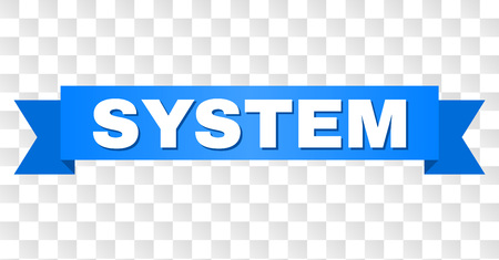 SYSTEM text on a ribbon. Designed with white caption and blue stripe. Vector banner with SYSTEM tag on a transparent background. Çizim
