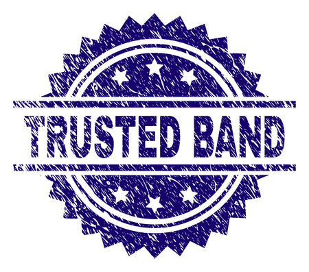 TRUSTED BAND stamp seal watermark with distress style. Blue vector rubber print of TRUSTED BAND label with dust texture.