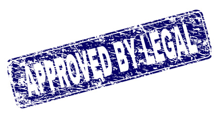 APPROVED BY LEGAL stamp seal print with grunge style. Seal shape is a rounded rectangle with frame. Blue vector rubber print of APPROVED BY LEGAL title with corroded style.