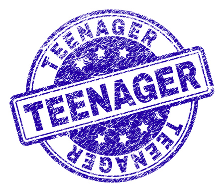 TEENAGER stamp seal watermark with distress texture. Designed with rounded rectangles and circles. Blue vector rubber print of TEENAGER label with dirty texture.
