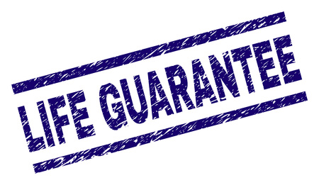 LIFE GUARANTEE seal watermark with grunge style. Blue vector rubber print of LIFE GUARANTEE label with grunge texture. Text label is placed between parallel lines. Illustration