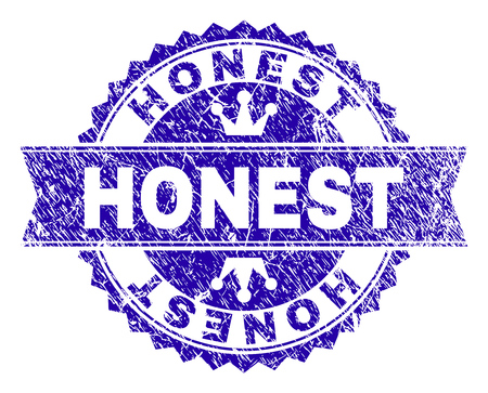 HONEST rosette stamp watermark with grunge style. Designed with round rosette, ribbon and small crowns. Blue vector rubber watermark of HONEST title with unclean texture.