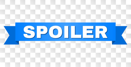 SPOILER text on a ribbon. Designed with white caption and blue stripe. Vector banner with SPOILER tag on a transparent background. Illustration