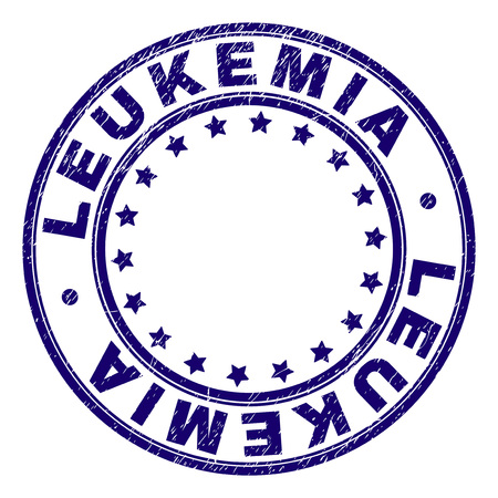 LEUKEMIA stamp seal imprint with distress texture. Designed with round shapes and stars. Blue vector rubber print of LEUKEMIA title with dirty texture.