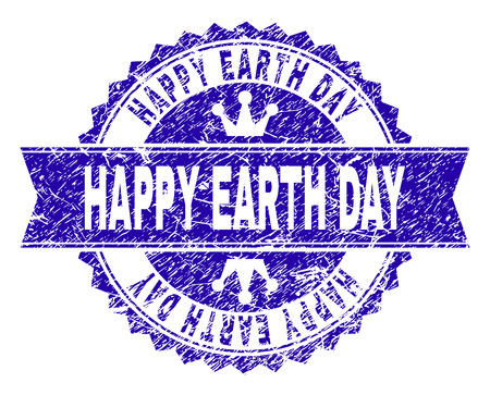 HAPPY EARTH DAY rosette stamp watermark with distress style. Designed with round rosette, ribbon and small crowns. Blue vector rubber watermark of HAPPY EARTH DAY caption with retro style. Vector Illustratie