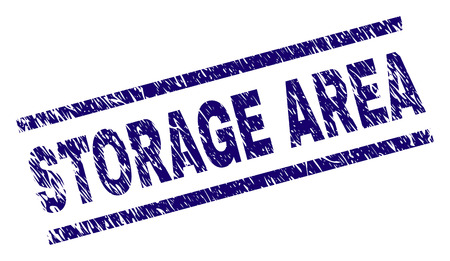 STORAGE AREA seal print with scratced style. Blue vector rubber print of STORAGE AREA text with grunge texture. Text label is placed between parallel lines. Vettoriali