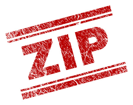 ZIP seal watermark with grunge texture. Red vector rubber print of ZIP text with unclean texture. Text tag is placed between double parallel lines. Vector Illustratie