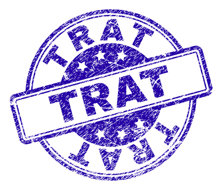 TRAT stamp seal imprint with distress texture. Designed with rounded rectangles and circles. Blue vector rubber print of TRAT caption with dust texture.
