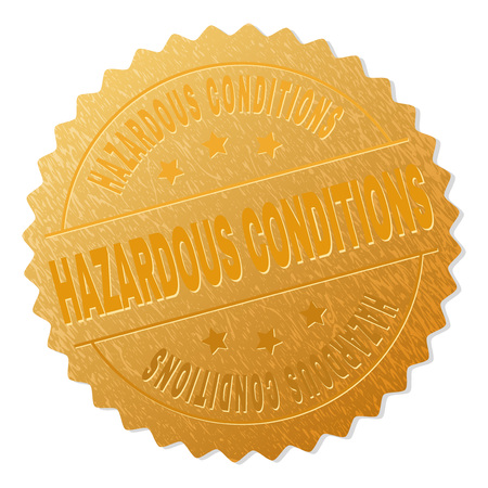 HAZARDOUS CONDITIONS gold stamp award. Vector gold award with HAZARDOUS CONDITIONS text. Text labels are placed between parallel lines and on circle. Golden skin has metallic texture.