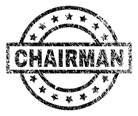 CHAIRMAN stamp seal watermark with distress style. Designed with rectangle, circles and stars. Black vector rubber print of CHAIRMAN label with grunge texture.