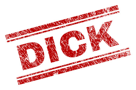 DICK seal print with grunge effect. Red vector rubber print of DICK text with grunge texture. Text title is placed between double parallel lines.