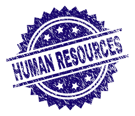 HUMAN RESOURCES stamp seal watermark with distress style. Blue vector rubber print of HUMAN RESOURCES tag with dust texture.