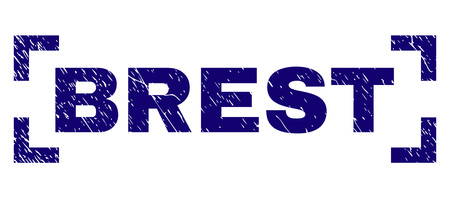 BREST text seal imprint with grunge texture. Text caption is placed inside corners. Blue vector rubber print of BREST with dust texture.