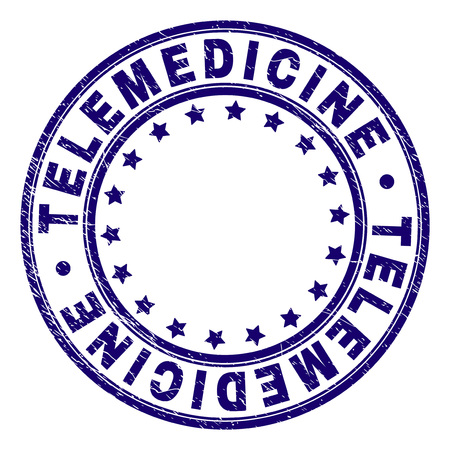 TELEMEDICINE stamp seal imprint with grunge texture. Designed with round shapes and stars. Blue vector rubber print of TELEMEDICINE text with grunge texture.