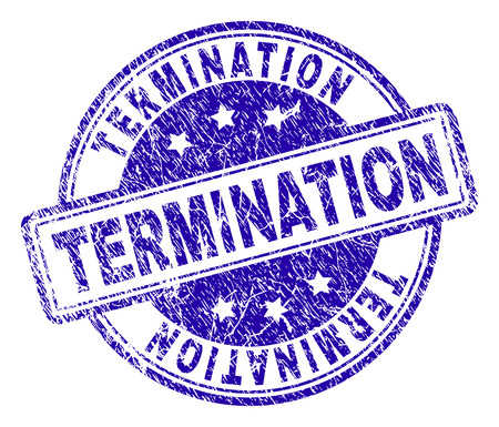 TERMINATION stamp seal watermark with distress texture. Designed with rounded rectangles and circles. Blue vector rubber print of TERMINATION title with dirty texture.
