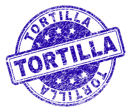 TORTILLA stamp seal watermark with distress texture. Designed with rounded rectangles and circles. Blue vector rubber print of TORTILLA title with grunge texture.