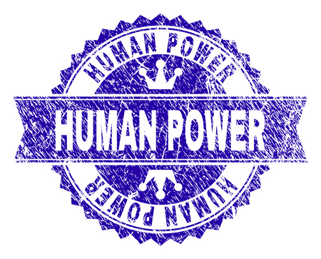 HUMAN POWER rosette stamp imitation with distress texture. Designed with round rosette, ribbon and small crowns. Blue vector rubber watermark of HUMAN POWER text with scratched texture.