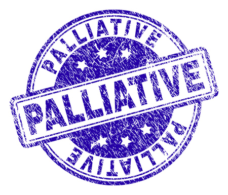 PALLIATIVE stamp seal watermark with distress texture. Designed with rounded rectangles and circles. Blue vector rubber print of PALLIATIVE label with dust texture. Illusztráció
