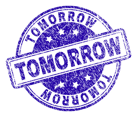 TOMORROW stamp seal watermark with distress texture. Designed with rounded rectangles and circles. Blue vector rubber print of TOMORROW caption with retro texture.