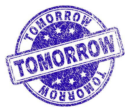 TOMORROW Stempelsiegel-Wasserzeichen mit Distress-Textur. Entworfen mit abgerundeten Rechtecken und Kreisen. Blauer Vektorgummidruck der Bildunterschrift MORGEN mit Retro-Textur.