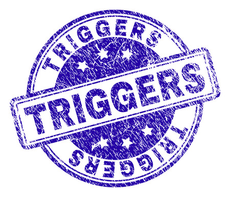 TRIGGERS stamp seal watermark with distress texture. Designed with rounded rectangles and circles. Blue vector rubber print of TRIGGERS text with grunge texture. Çizim