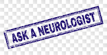 ASK A NEUROLOGIST stamp seal watermark with rubber print style and double framed rectangle shape. Stamp is placed on a transparent background.