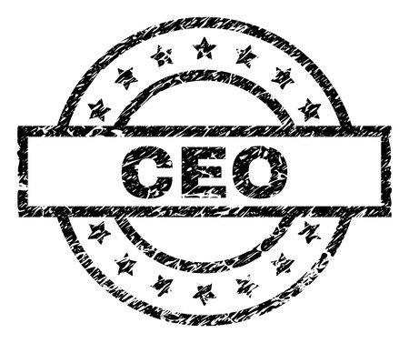 CEO stamp seal watermark with distress style. Designed with rectangle, circles and stars. Black vector rubber print of CEO text with dirty texture.