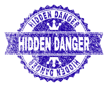 HIDDEN DANGER rosette stamp watermark with distress texture. Designed with round rosette, ribbon and small crowns. Blue vector rubber watermark of HIDDEN DANGER title with unclean texture.