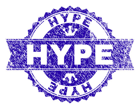 HYPE rosette stamp seal imitation with grunge effect. Designed with round rosette, ribbon and small crowns. Blue vector rubber watermark of HYPE text with grunge style. Illustration