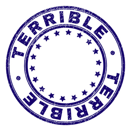 TERRIBLE stamp seal watermark with grunge texture. Designed with round shapes and stars. Blue vector rubber print of TERRIBLE caption with dust texture. 向量圖像